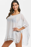 Lace Panel V Neck Asymmetric Cover Up