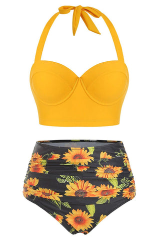 Sunflower Print Ruched Halter Bikini Swimsuit