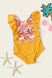 Toddler Girls Tropical Ruffle One Piece Swimsuit