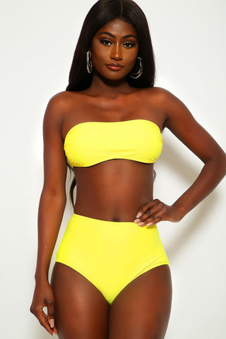 Sexy Yellow Bandeau High Waist Two Piece Swimsuit