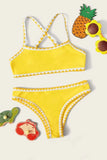 Girls Whip Stitch Criss Cross Bikini Set