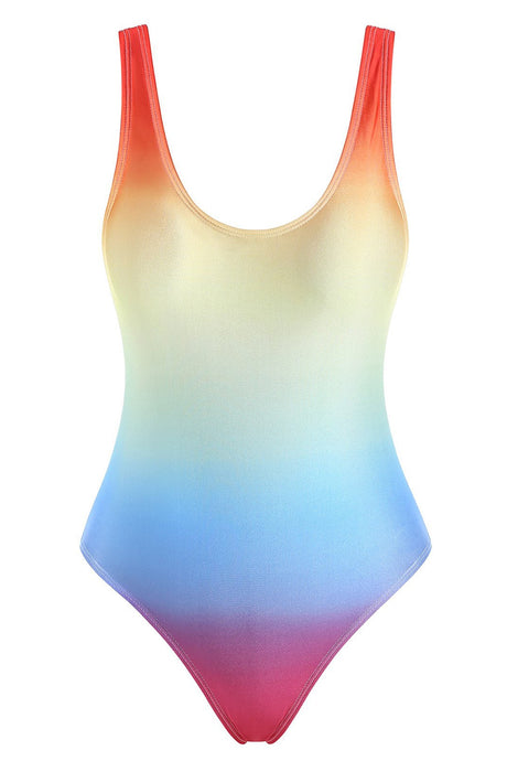 Rainbow Ombre Tank High Cut One-piece Swimsuit