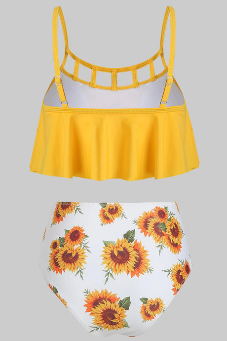 Ladder Cutout Lattice Sunflower Flounce Bikini Set