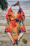 BOHO LOW BACK FLORAL PRINTED DEEP V HALTER ONE PIECE SWIMSUIT