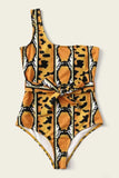 Animal Pattern Knot Front One Piece Swimsuit