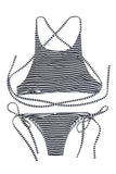 Iyasson Elastic Cute Striped Bikini Set