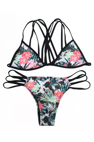 Iyasson floral printing Bikini Set with  Handmade Multi-Straps at Back