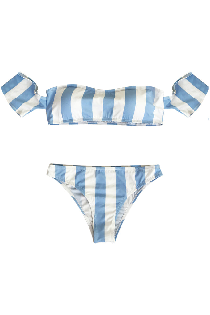 Iyasson Stripe Pattern Off-the-shoulder Two-piece Swimwear