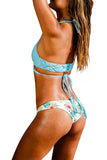 Iyasson Handmade braided ties Bikini Top and Floral Printing Bikini bottom