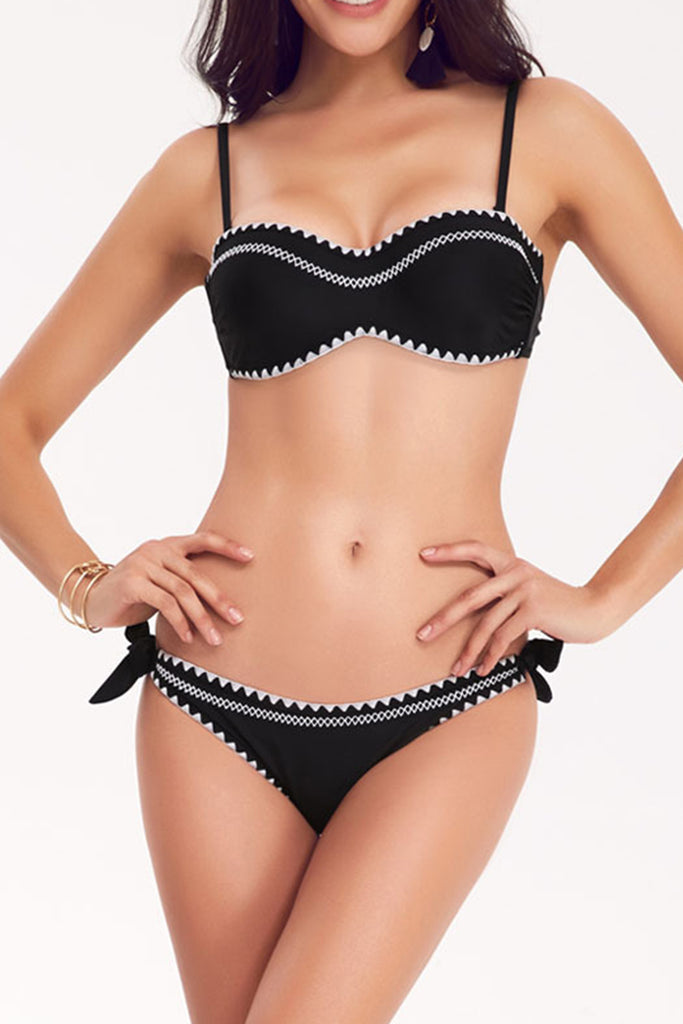 Iyasson Two-piece Swimwear With Embroidery Edge