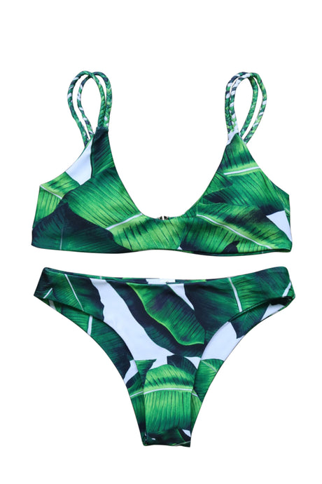 Iyasson Fresh Leaves Printing Two-piece Bikini Swimwear