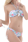 Iyasson Floral Printing Adjustable neck ties  Bikini Set