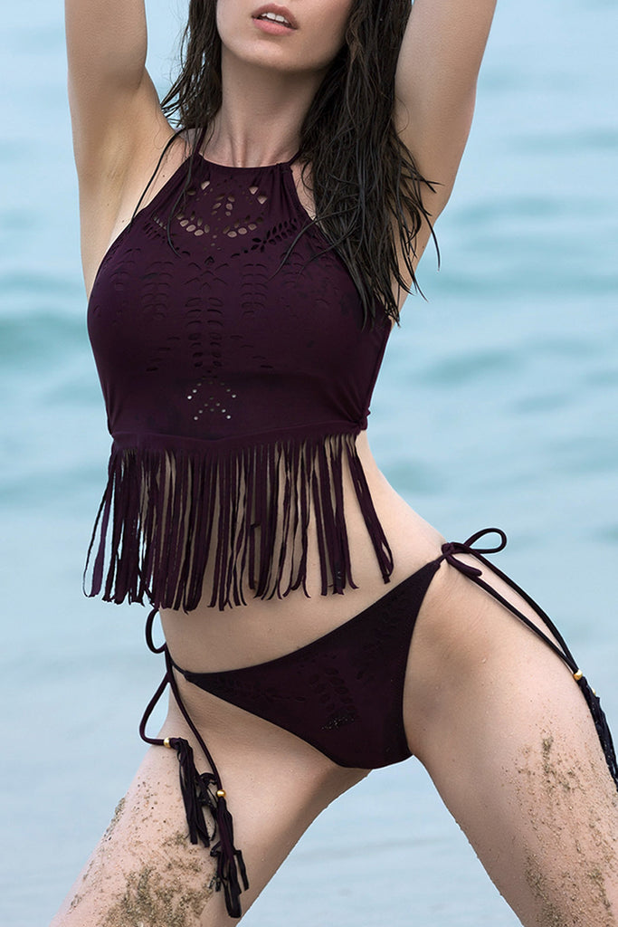 Iyasson Wine red Hollowed out printing With Tassel Bikini Set