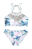 Iyasson Floral Printing With White Lace Tank Top Bikini Set