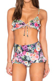 Iyasson Floral Printing Falbala High-waisted fit Bikini Set