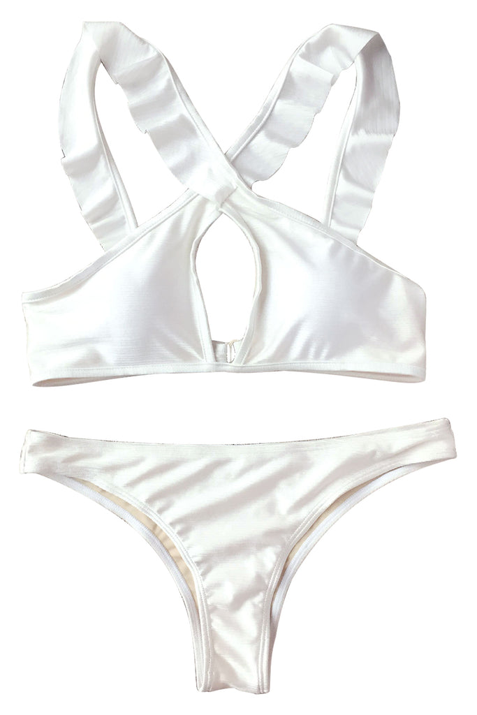 Iyasson Exquisite White Falbala Bikini Set