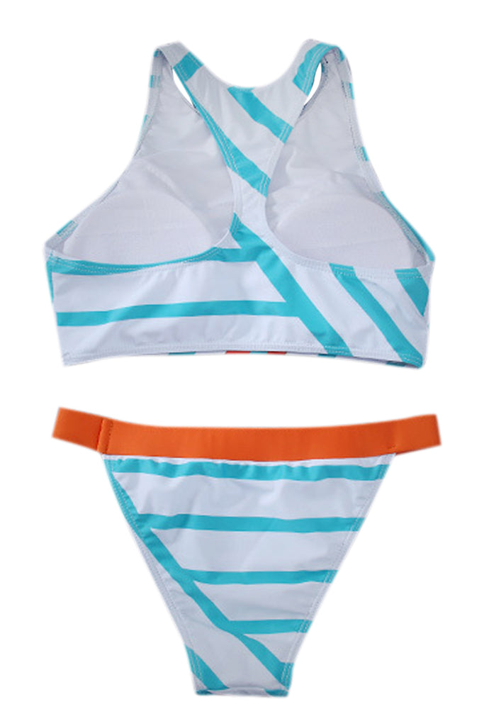 0c87bd4b98ec9 Iyasson Trendy Sport Style High Neck With Flamingo Printing Bikini Set