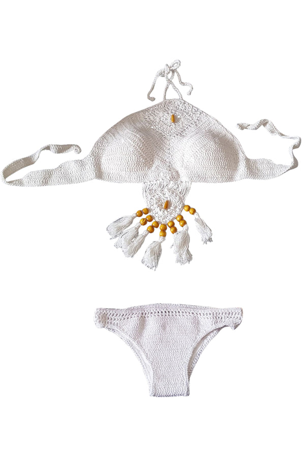 Iyasson Crochet  Pure White Bikini Set