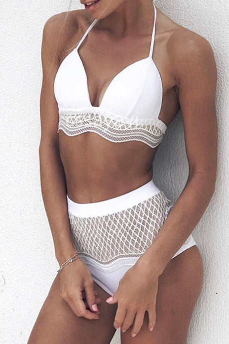 Iyasson White Crochet Lace Trim Bikini Set