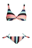 Iyasson Colorful Stripe Printing Bikini Set