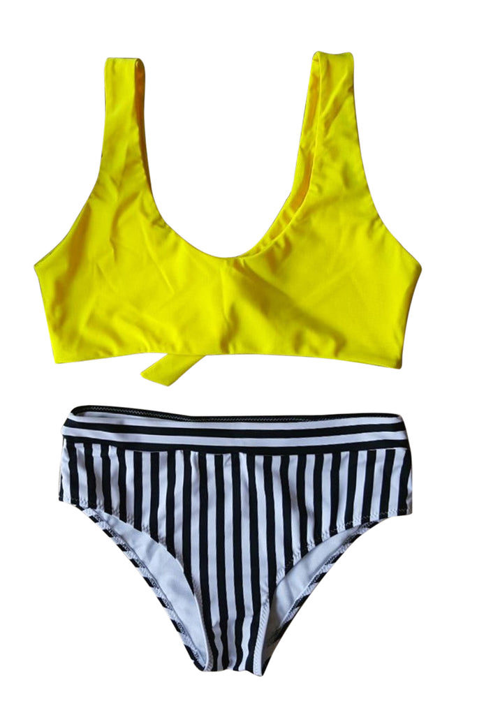 Iyasson Breezy Yellow Bikini Top With Stripe Printing Bottom
