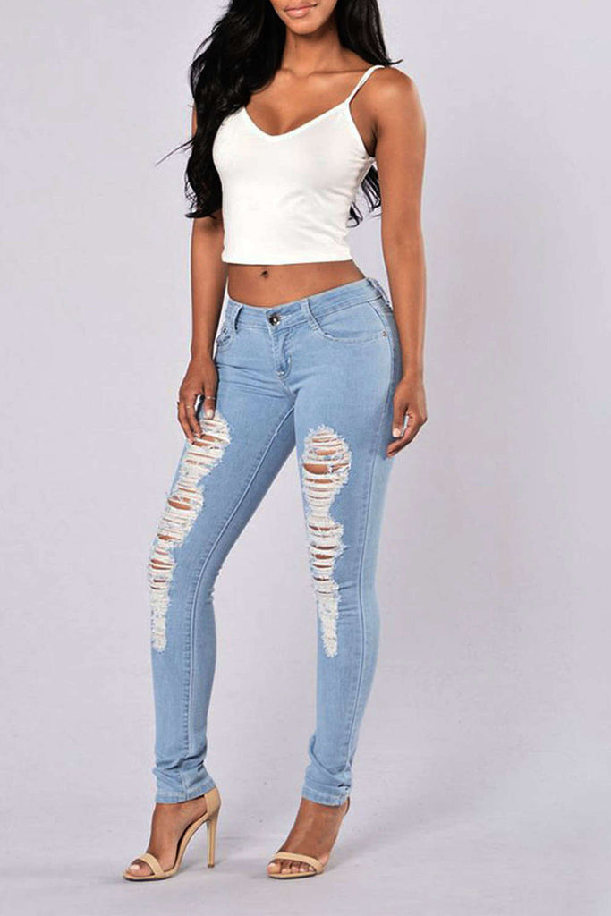 Iyasson Women's Low Rise Ripped Jeans