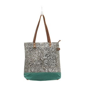 abstract print canvas tote