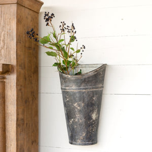 Aged Metal Wall Bucket | Farmhouse Wall Bucket