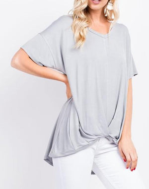 bamboo v-neck top | womens short-sleeve top, front