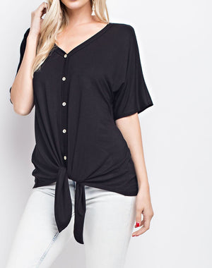 bonnie button down top | short sleeve top, front close up