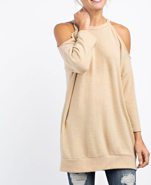 brushed cashmere cold shoulder top