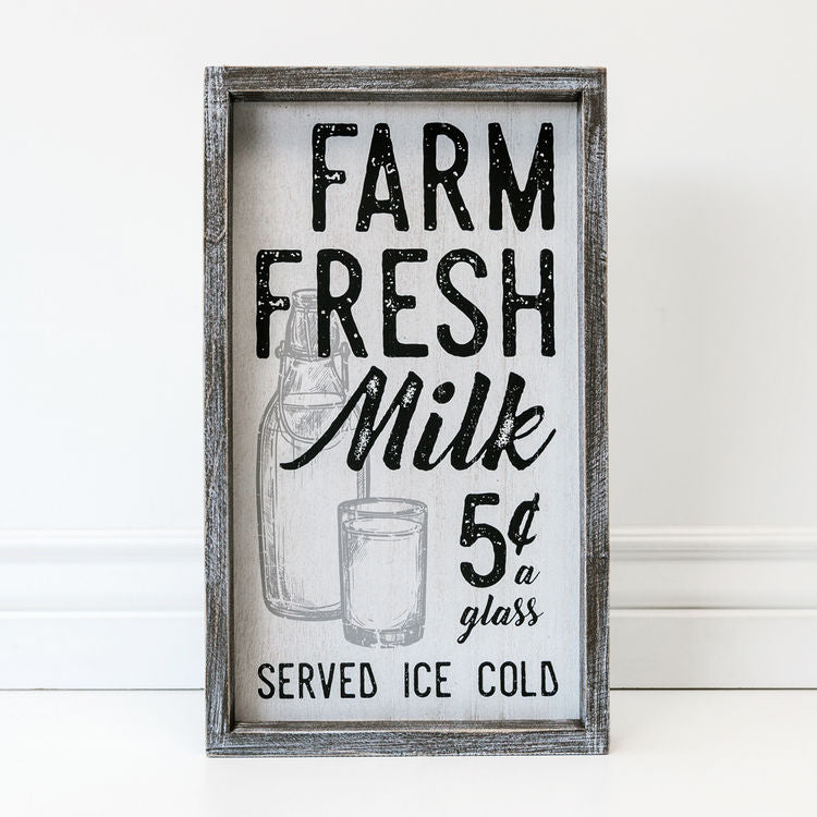 farm fresh milk wood sign
