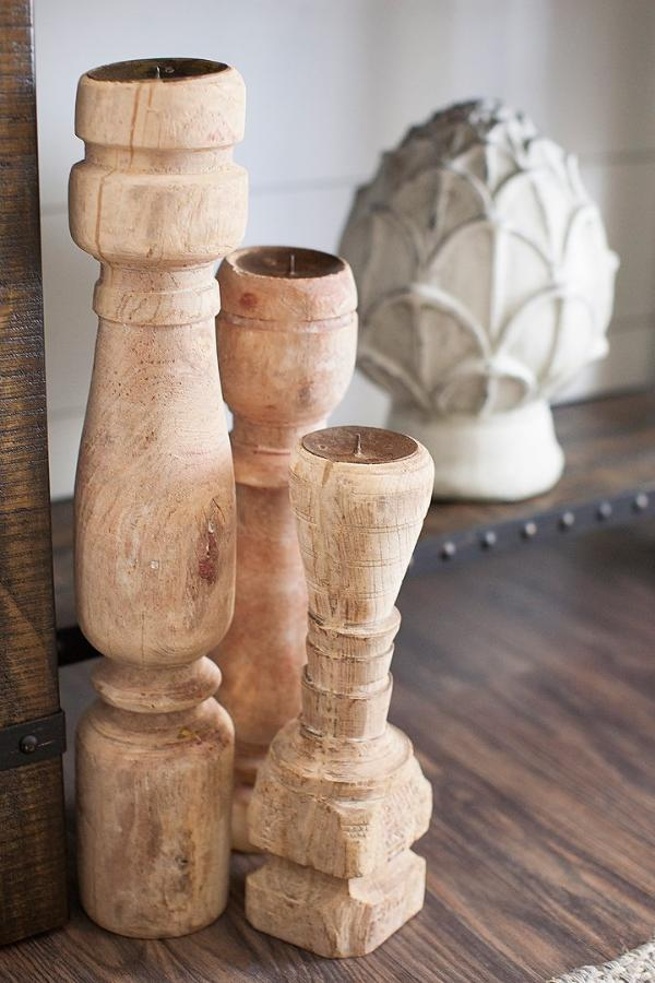 found wood table leg pillar candle holder
