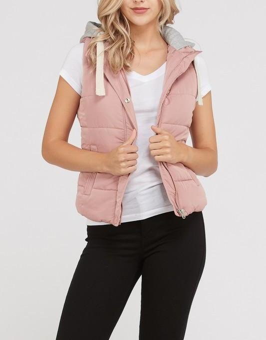 french terry hood padded vest
