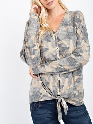 hillary camo printed v-neck top