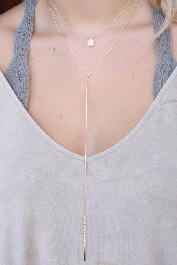 silver double layer delicate chain necklace