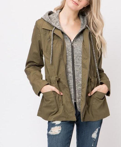 Sweater-Lined Utility Jacket - Olive