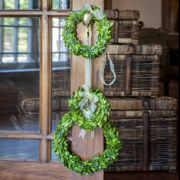 Preserved Boxwood Wreath with Ribbon Trim - Set of 3