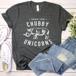 save the chubby unicorns tee - flat lay