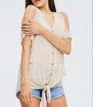 carly cold shoulder top | women's short-sleeve top