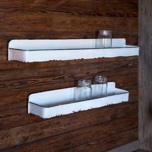 white distressed enamel wall shelves