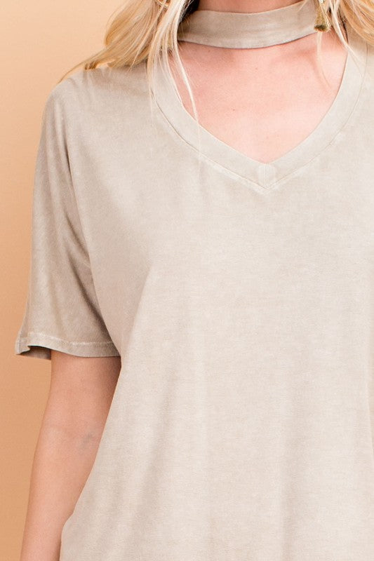 jesse mineral washed mock neck top