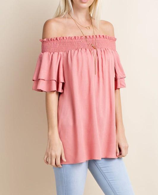 malinda crinkle woven off the shoulder top