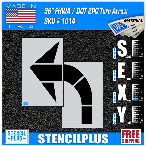 "96"" FHWA/DOT Turn Arrow 2 PC Pavement Marking Stencil"