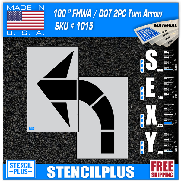 "100"" DOT Turn Arrow Parking Lot Pavement Marking Stencil"
