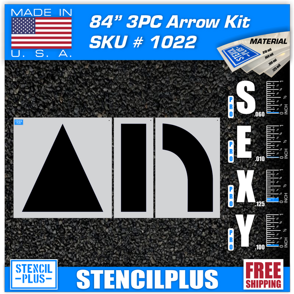 "84"" Arrow Combo Kit 3 pc Parking Lot Pavement Marking Stencil"