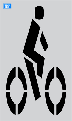 "54"" Bike Lane Symbol  Parking Lot Pavement Marking  Stencil"