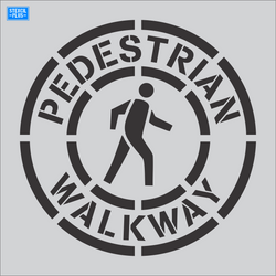 "36"" Circular Pedestrian Walkway Crossing Symbol  Parking Lot Pavement Marking Stencil"