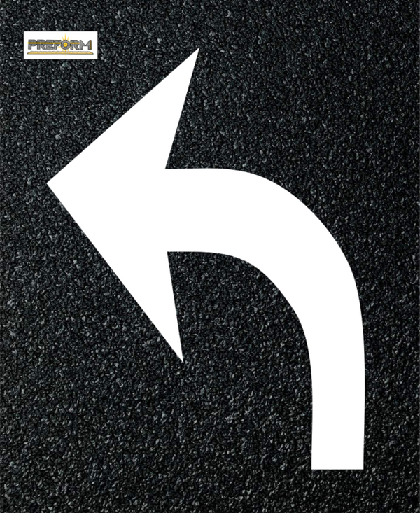 "Preformed Thermoplastic Curved Arrow Left 8'2"" Pavement Marking MUTCD"