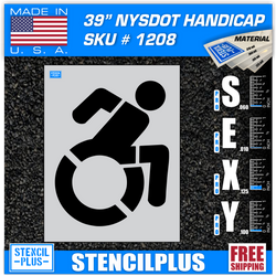 "39"" NYSDOT Handicap Accessible Icon Active Handicap   Parking Lot Pavement Marking Stencil"